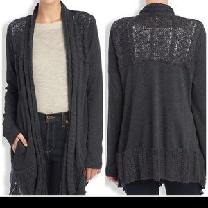 LUCKY Lotus Knit Yoke Cardigan Gray Sweater New